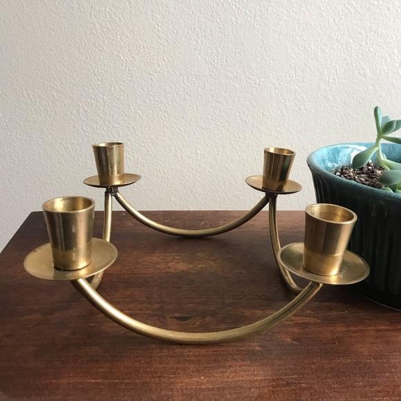 Vintage Mid Century Brass Candelabra /Candleholder